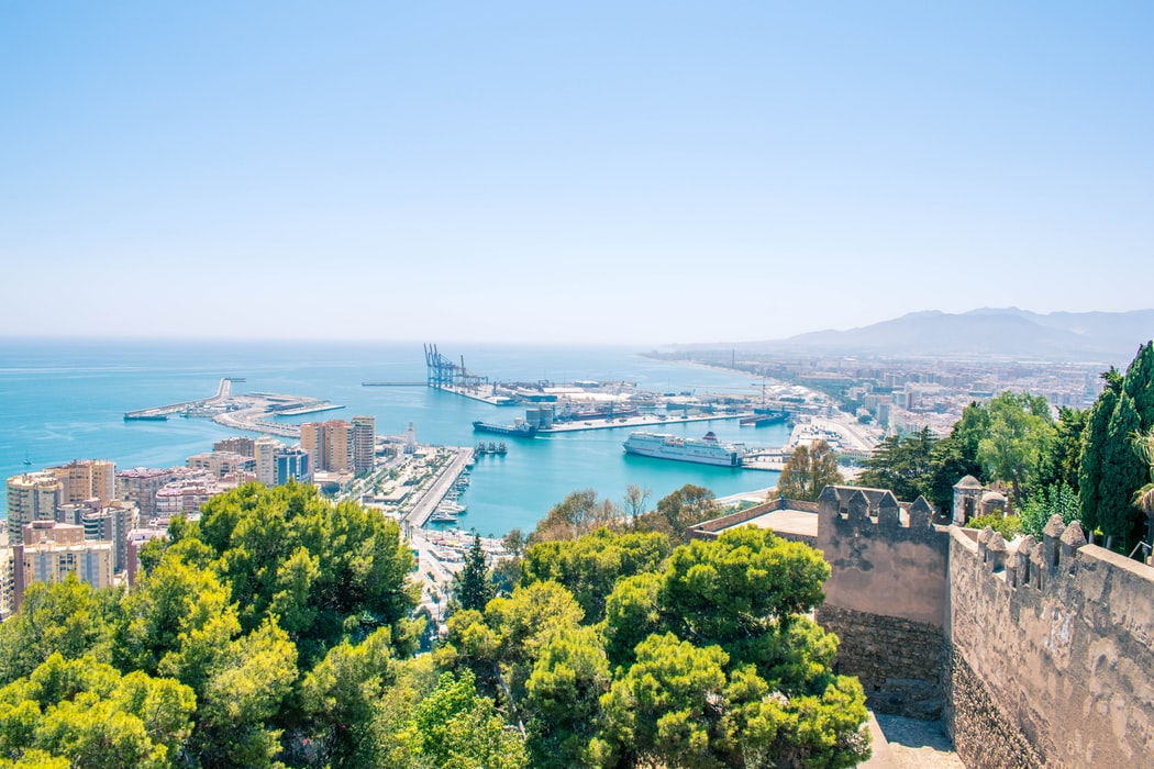Malaga view over the harbor